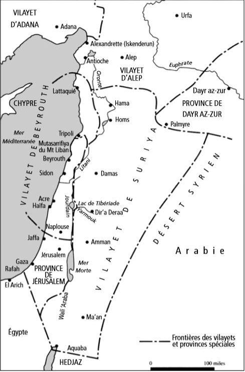 Carte 20 La Syrie sous la domination ottomane (d'après D. Pipes, Greater Syria, Oxford University Press, 1990).